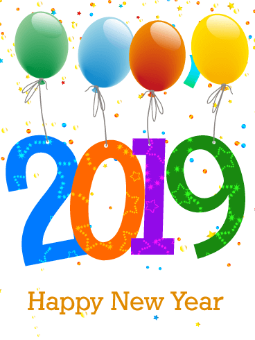 celebrating new year card 2019