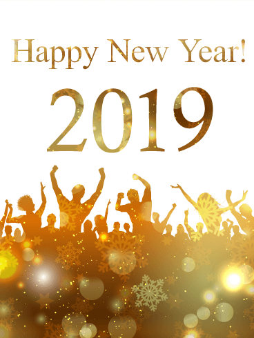 Golden New Year Party Card 2019