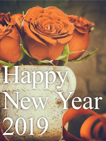 Chic Red Rose Happy New Year Card 2019