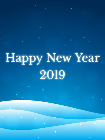 calm snow land happy new year card 2019