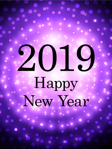 Purple Glow Happy New Year Card 2019