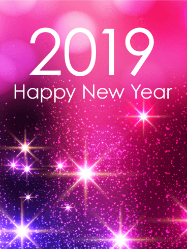 Pink Glow Happy New Year Card 2019