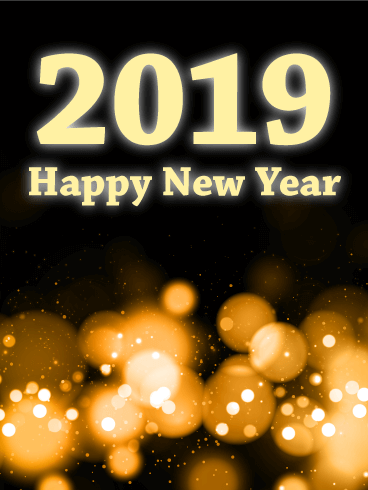 Glowing Light Happy New Year Card 2019