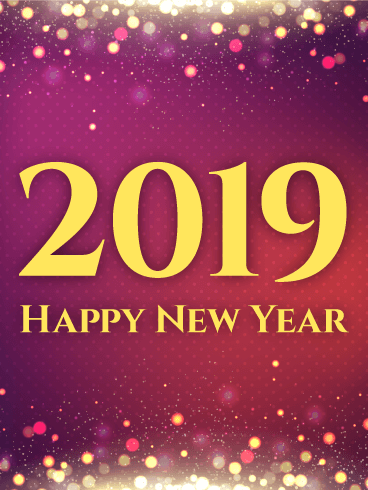 shiny purple happy new year card 2019