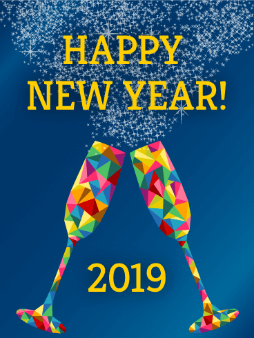 Rainbow Glass Happy New Year Card 2019