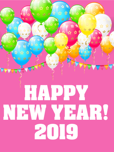 Cheerful New Year Card 2019