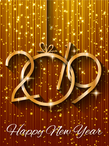 Shiny Gold Happy New Year Card 2019