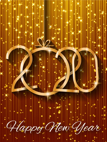 Shiny Gold Happy New Year Card 2020