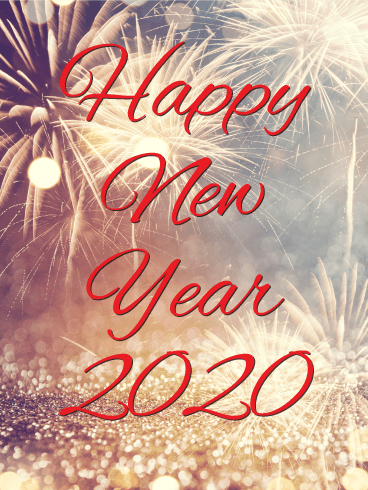Golden New Year Fireworks Card 2020