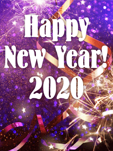 Sparking New Year Fireworks Card 2020