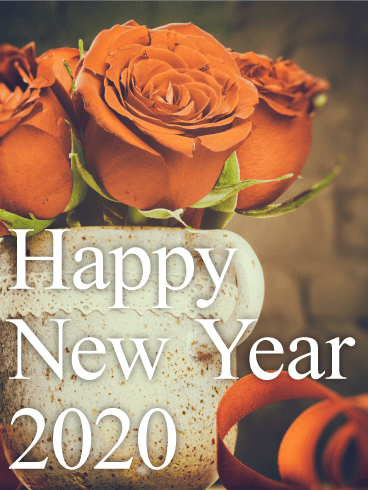 Chic Red Rose Happy New Year Card 2020