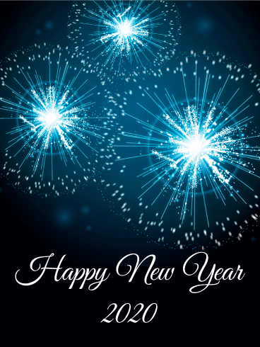 Blue New Year Fireworks Card 2020