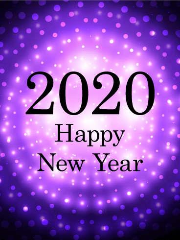 Purple Glow Happy New Year Card 2020