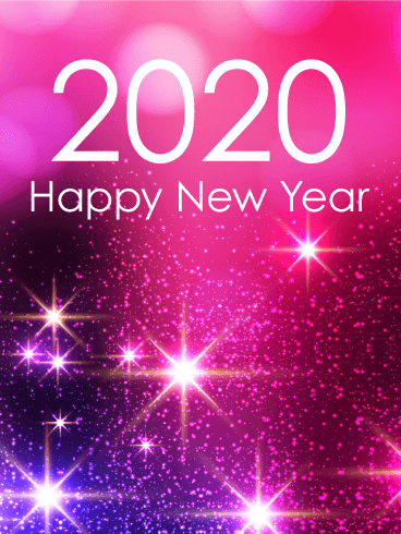 Pink Glow Happy New Year Card 2020