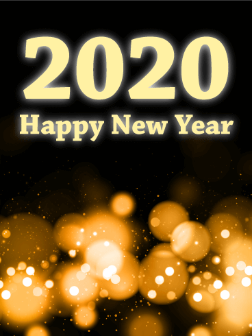 Glowing Light Happy New Year Card 2020