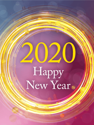 Golden Circle Happy New Year Card 2020