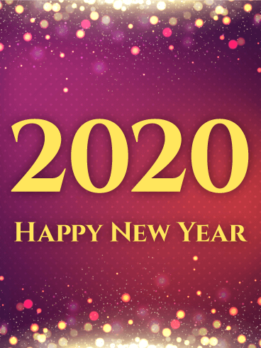 Shiny Purple Happy New Year Card 2020