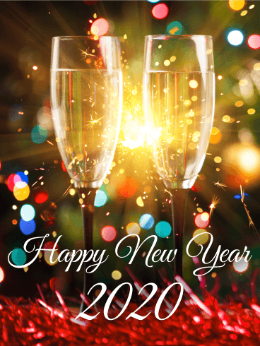 Sparking Happy New Year Card 2020