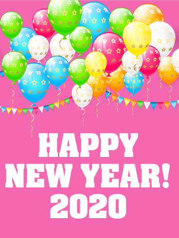Cheerful New Year Card 2020