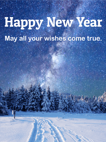 winter night happy new year card
