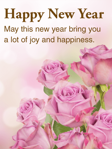 Beautiful Pink Rose Happy New Year Card