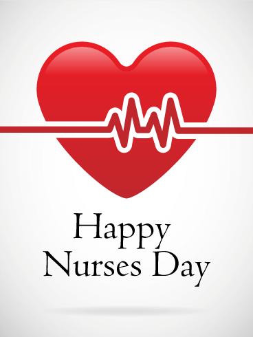Happy Nurse Day - Red Heart Card