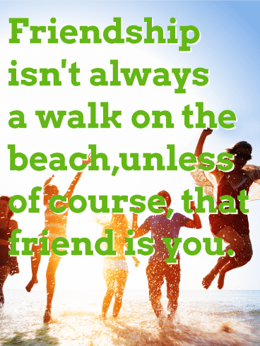 On the Beach with Friends - Friendship Card