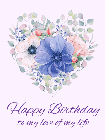 Elegant Flower Heart Happy Birthday Card