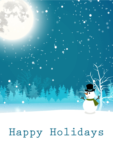 Moonlight Snowman Happy Holidays Card