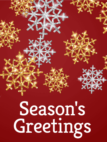 Gold & Silver Snowflake Season's Greetings Card