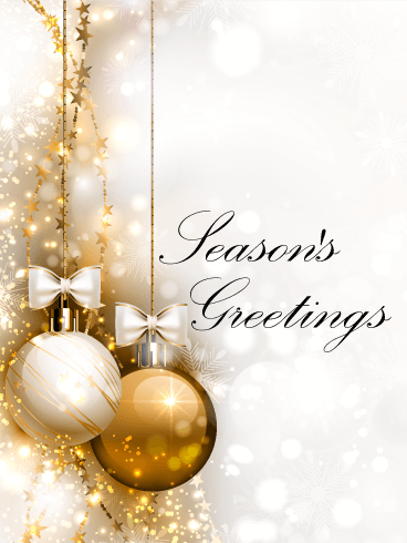 Seasons greetings cards 2018 happy holidays greetings 2018 golden ornaments seasons greetings card m4hsunfo