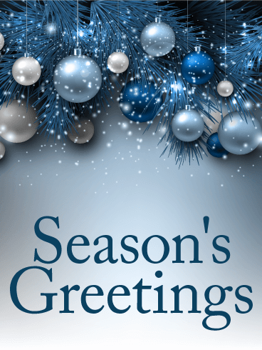 blue ornaments seasons greetings card