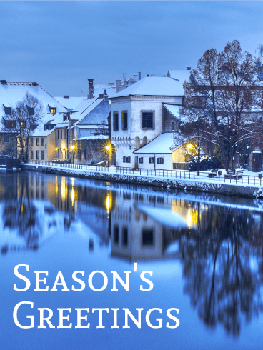 Beautiful Winter Town - Season's Greeting Card