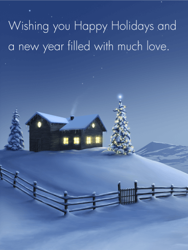 Winter Snow Night - Season's Greetings Card