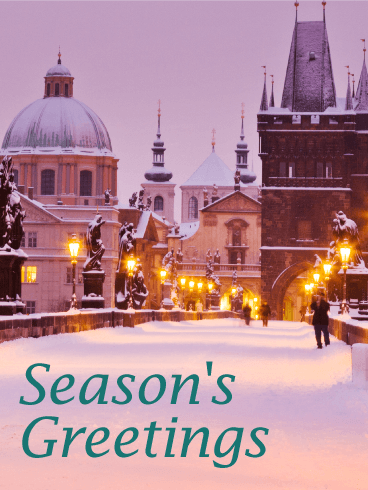 Snow in Town - Season's Greetings Card