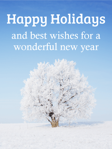 Snow Tree Happy Holidays Card