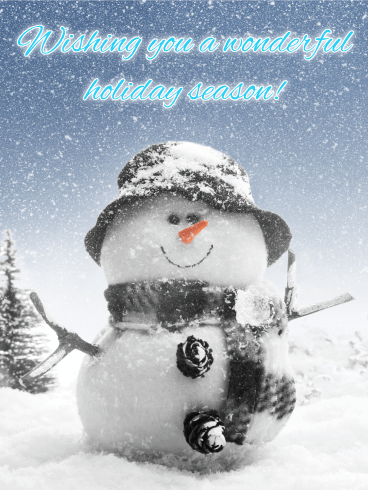 Smiling Snowman Season's Greetings Card