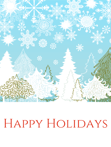 Snow in Forest - Happy Holidays Card
