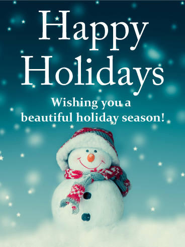 Cheerful Snowman Happy Holidays Card
