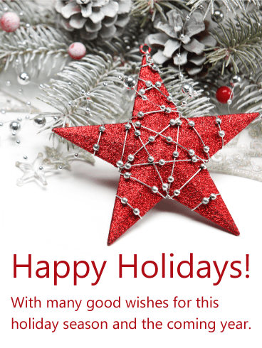 Winter Red Star Happy Holidays Card