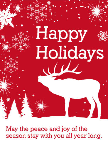 White Reindeer Happy Holidays Card