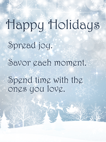 Shining Snow World - Happy Holidays Card