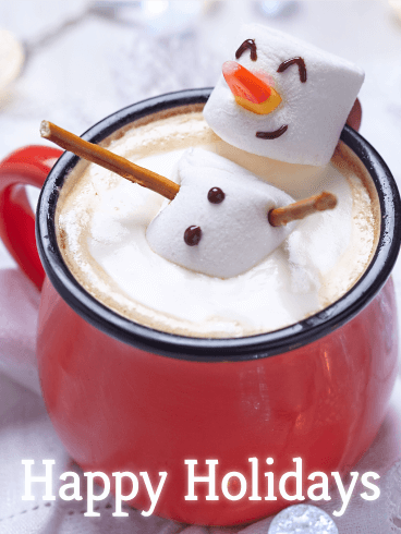 Happy Marshmallow Snowman - Happy Holidays Card