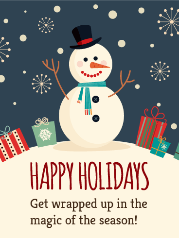 Happy Snowman Happy Holidays Card