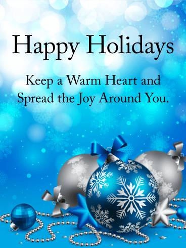 spread the joy around you happy holidays card