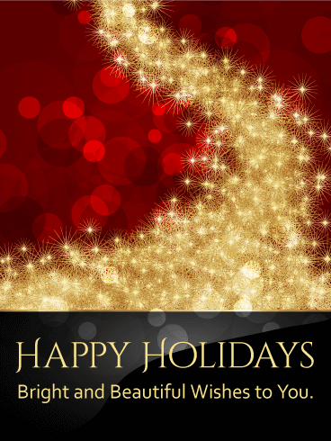 Golden Sparkles Happy Holidays Card