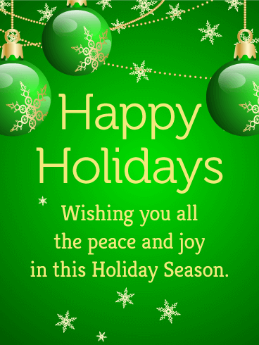 Seasons greetings messages with images and pictures birthday happy holidays wishing you all the peace and joy in this holidays season send this green bauble seasons greetings card m4hsunfo