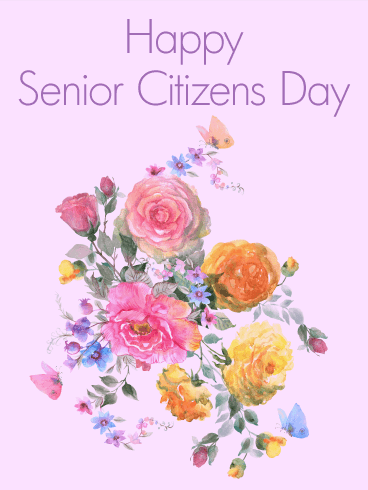 Beautiful Flower Happy Senior Citizens Day Card