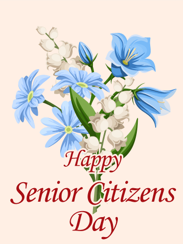 Elegant Flower Happy Senior Citizens Day Card