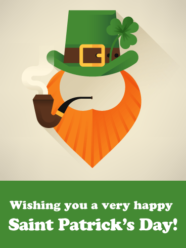 Smoking Leprechaun - Happy St. Patrick's Day Card